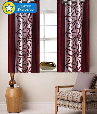Zesture Polyester Maroon Striped Eyelet Window Curtain