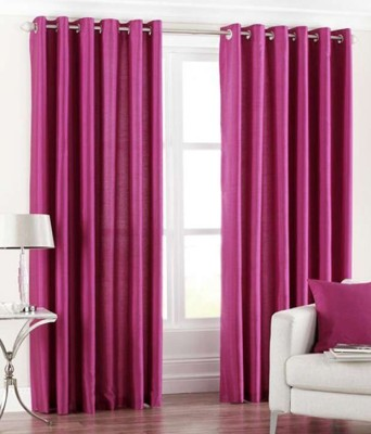 Shopgalore Polyester Pink Plain Eyelet Window & Door Curtain