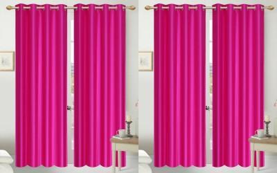 Shopgalore Polyester Pink Plain Eyelet Door Curtain