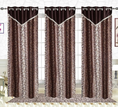 Comfort Zone Polyester Brown Leaf Abstract Eyelet Long Door Curtain