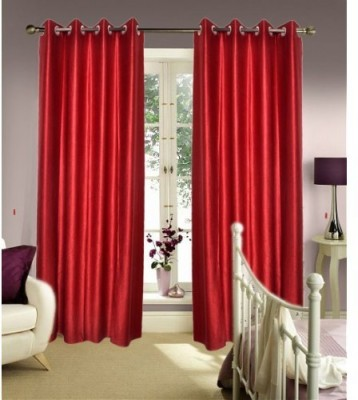 Brand Decor Polyester Red Solid Eyelet Window Curtain