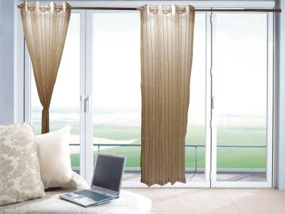 Furnishing Centre Polyester Beige Striped Eyelet Window Curtain