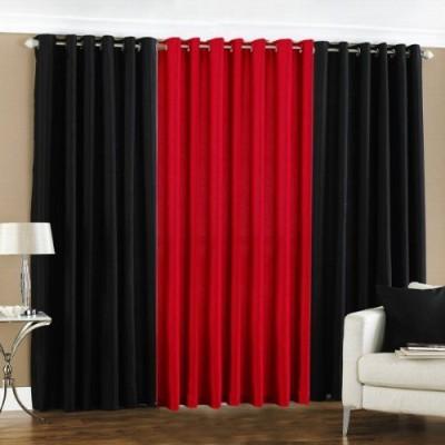 shivamconcepts Polyester Black, Red, Black Plain Eyelet Door Curtain