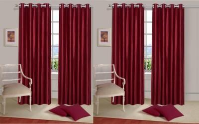 Rangoli Polyester Red Self Design Eyelet Door Curtain