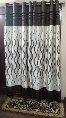 FC Polycotton Brown Striped Eyelet Door Curtain