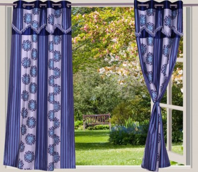 Desire Polyester Light Blue Striped Eyelet Window Curtain