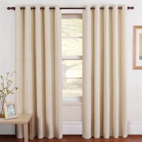 Panipat Textile Hub Polyester Cream Plain Eyelet Door Curtain(213 cm in Height, Pack of 2)