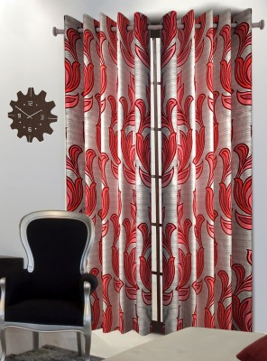 Home Blossoms Polyester Maroon Floral Eyelet Door Curtain