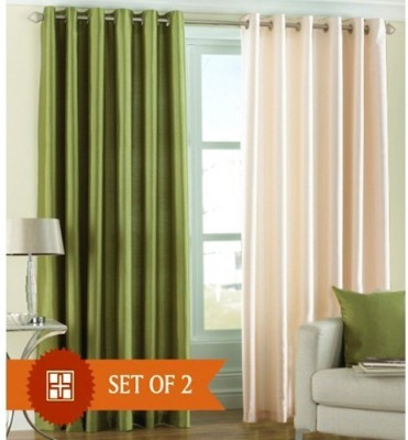 Brand Decor Polyester Green, Beige Solid Eyelet Door Curtain