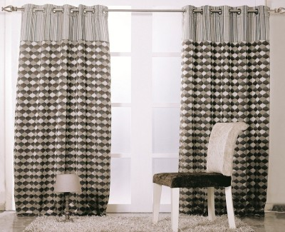 KC HOME Polycotton Brown Abstract Curtain Window Curtain