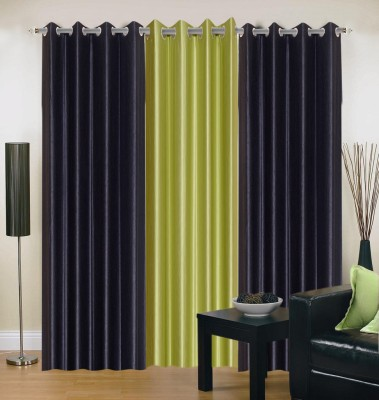 Brand Decor Polyester Black, Green Solid Eyelet Window Curtain