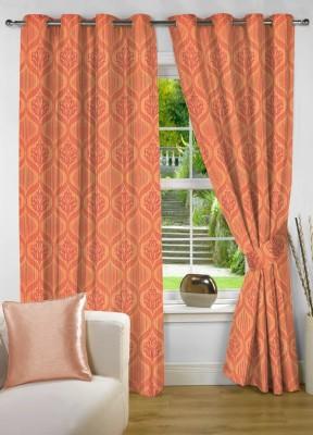 NuHome Decor Polyester Orange Motif Eyelet Long Door Curtain