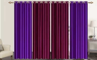 Furnishing Zone Polyester Purple Plain Eyelet Long Door Curtain