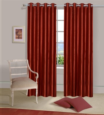 Home Elite Polyester Red Plain Eyelet Door Curtain