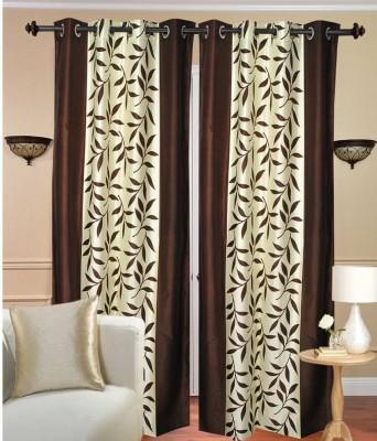 RK Home Furnishing Polycotton Coffee Plain Eyelet Door Curtain