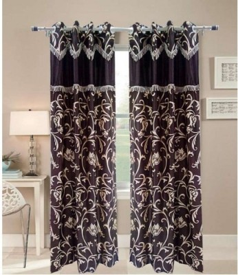 Shopgrab Polyester Beige, Brown Floral Eyelet Door Curtain
