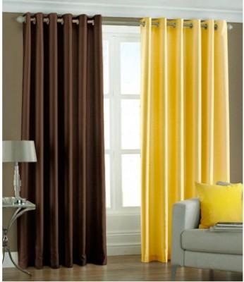 Maa Sharda Exports Polyester Multicolor Plain Eyelet Window Curtain