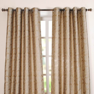 Deco Window Polyester Beige Geometric Eyelet Window Curtain