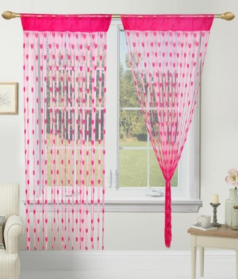 Shiv Fabs Polyester Pink Striped Eyelet Door Curtain