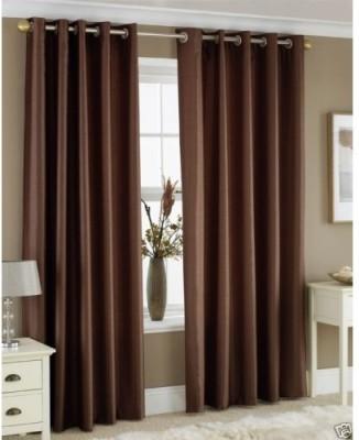 JTInternational Polyester Beige Floral Eyelet Door Curtain