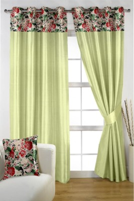 Homec Satin Green Printed Eyelet Window & Door Curtain