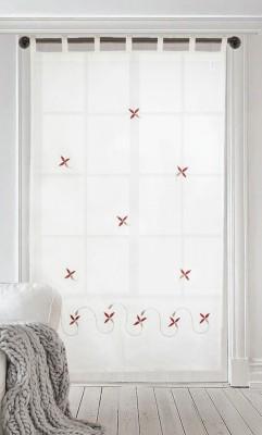 Milano Home Cotton Multicolor Embroidered Tab Top Door Curtain