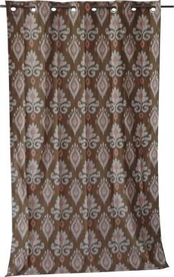 Adt Saral Cotton Brown Printed Eyelet Door Curtain