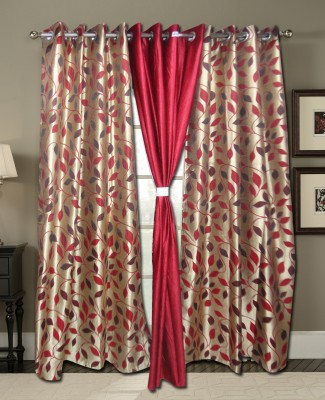 Zigma Collections Polyester Red Printed Eyelet Door Curtain