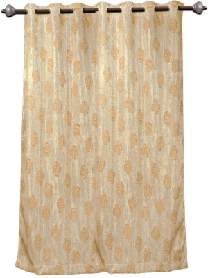 Mahamantra Polyester Beige Solid Eyelet Window Curtain