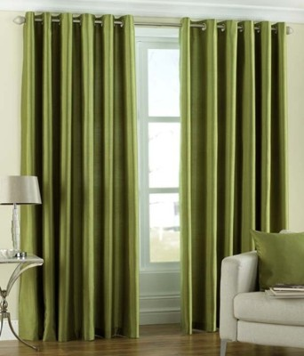 Hargunz Polyester Light Green Embroidered Eyelet Long Door Curtain