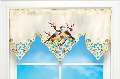 Collections Etc Polyester Multicolor Embroidered Curtain Window Curtain