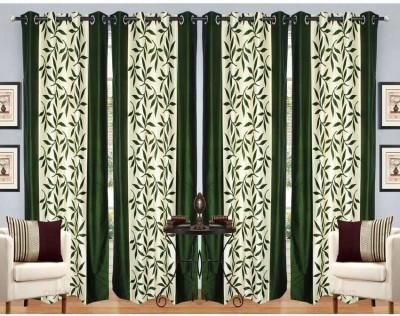 RK Home Furnishing Polycotton Green Self Design Eyelet Door Curtain