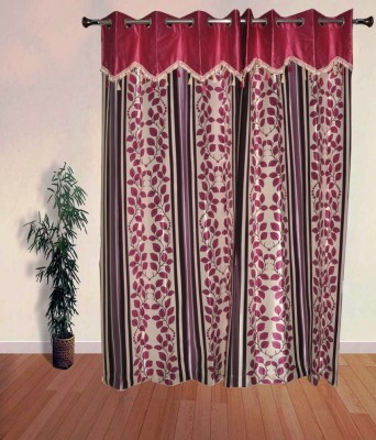 PHM Polyester Red Floral Eyelet Long Door Curtain