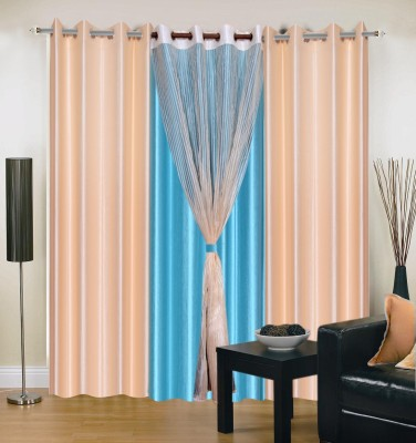 Shopgrab Polyester Beige, Blue Solid Eyelet Door Curtain