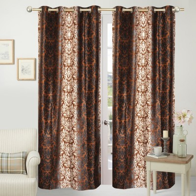 Home Fashion Polyester Brown Printed Eyelet Door Curtain