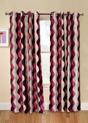 Jds Polyester Purple Geometric Ring Rod Door Curtain
