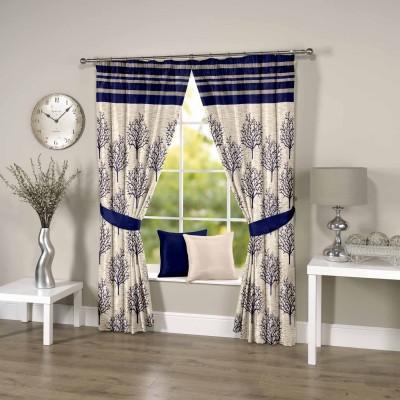 Threadmix Polyester Blue Abstract Eyelet Window Curtain