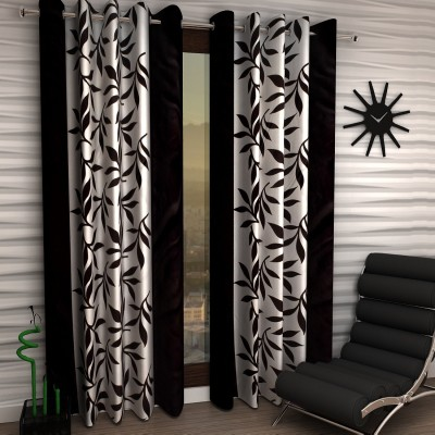 Home Sizzler Polyester Black Floral Eyelet Window Curtain