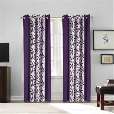 White Wave Polyester Purple Printed Tab Top Door Curtain