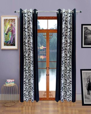Homefab India Polyester Black Printed Eyelet Door Curtain