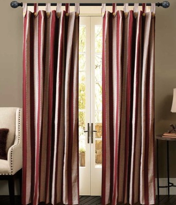 New Ladies Zone Cotton Purple Striped Tab Top Door Curtain