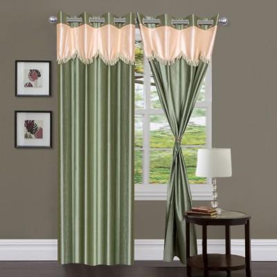 Homesazz Polyester Green Self Design Eyelet Window Curtain