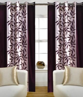 Best Buy Traders Polyester Purple Floral Eyelet Window & Door Curtain