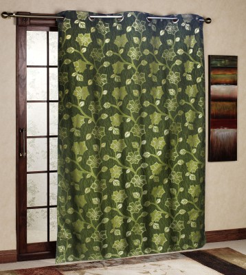 R home Polyester Green Floral Eyelet Door Curtain