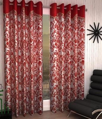 Jai Ganga Polyester Red Floral Curtain Long Door Curtain