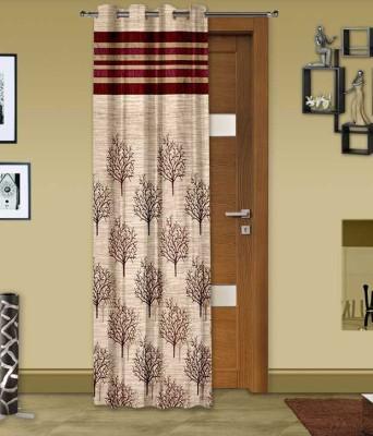 STC Jacquard Maroon Self Design Eyelet Long Door Curtain