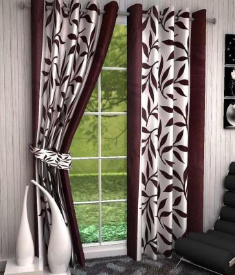 K Decor Polyester Brown Printed Eyelet Window Curtain