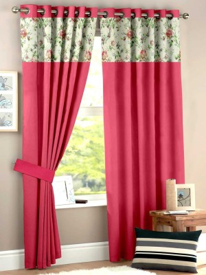 HOMEC Polyester Coral Floral Eyelet Window & Door Curtain