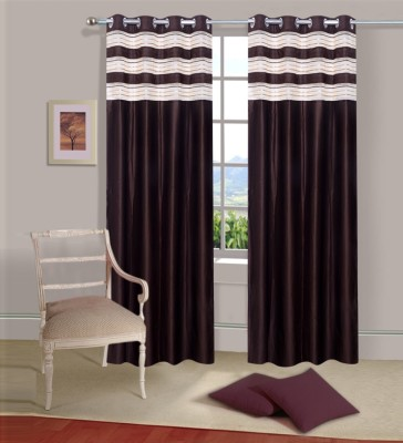 Ville Style Polyester Brown Solid Eyelet Door Curtain