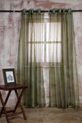 Marigold Polyester Dark Green Striped Curtain Long Door Curtain